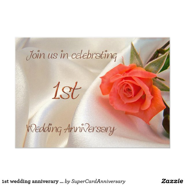 1st wedding anniverary party invitation