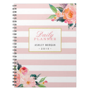 2018 Daily Planner | Girly Pink Stripes Floral Notebook