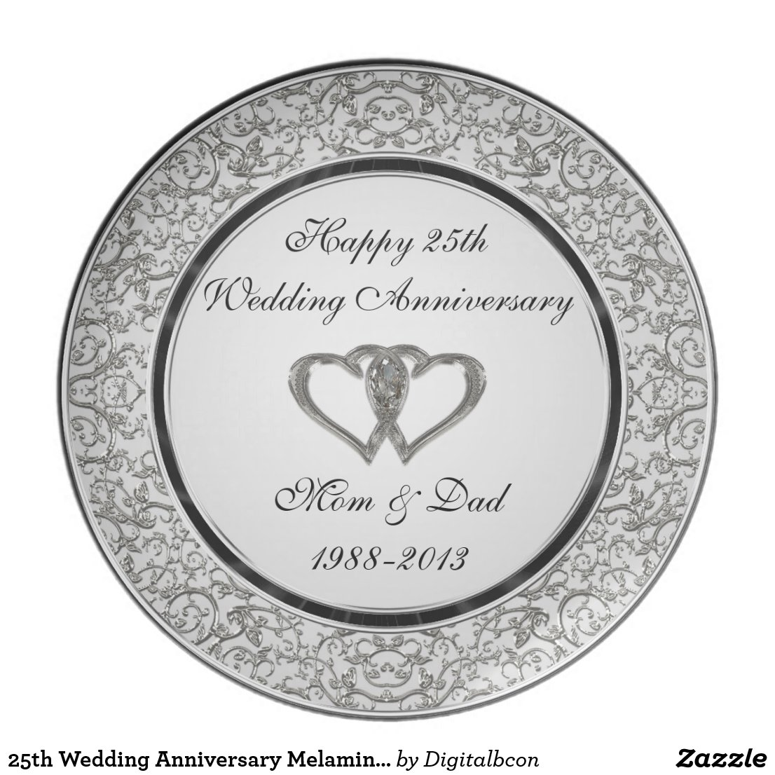 25th Wedding Anniversary Melamine Plate