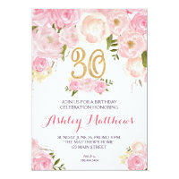 30th birthday Floral Invitation Card