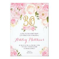 30th birthday Floral Invitation Card