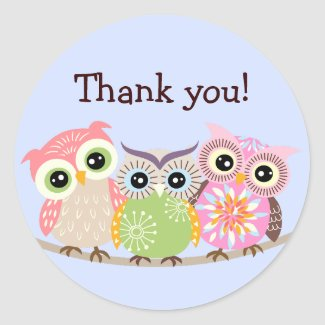 Owls Thank You Stickers