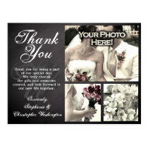 3 Photo Chalkboard Custom Wedding Thank You Card Postcard