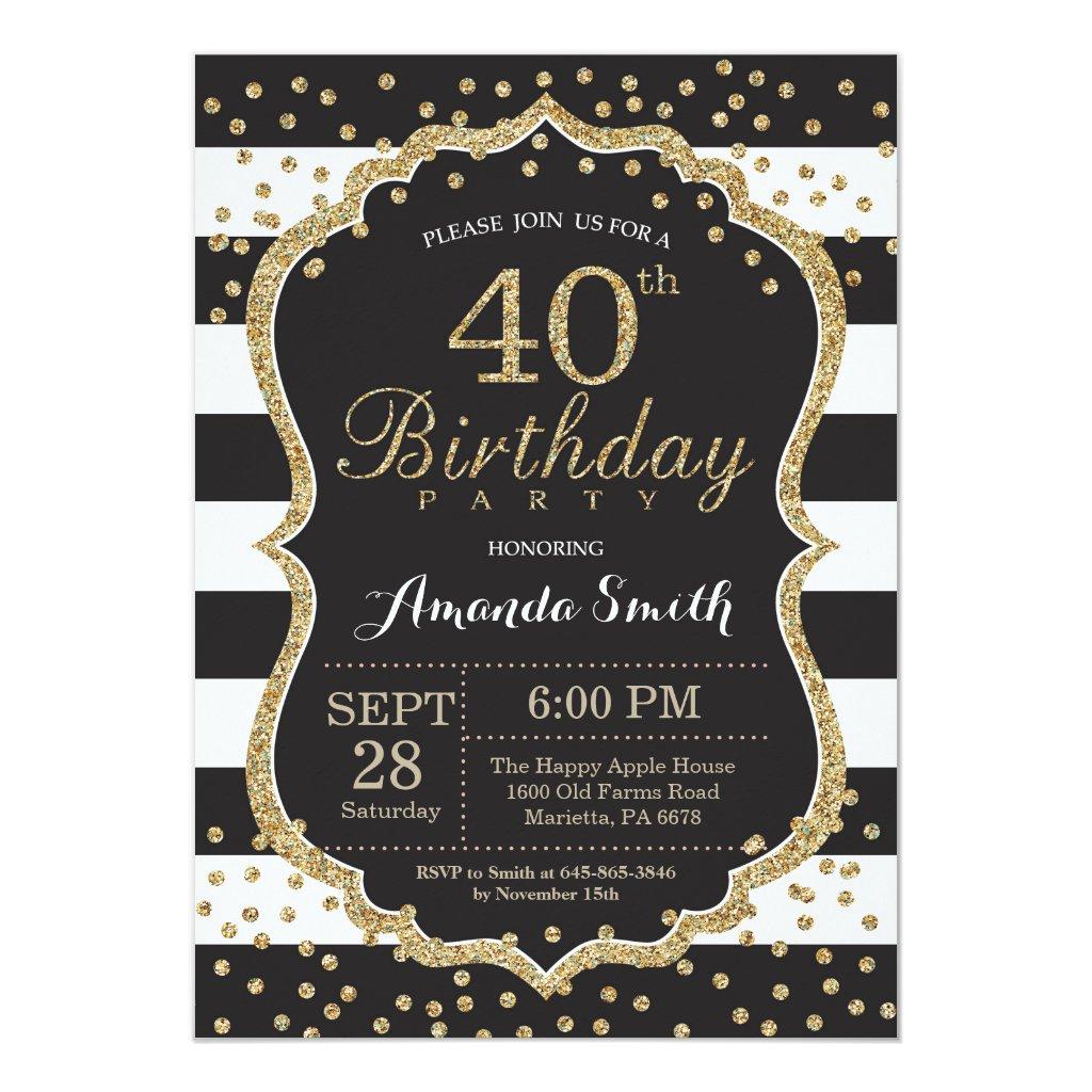 40th Birthday Invitation. Black and Gold Glitter