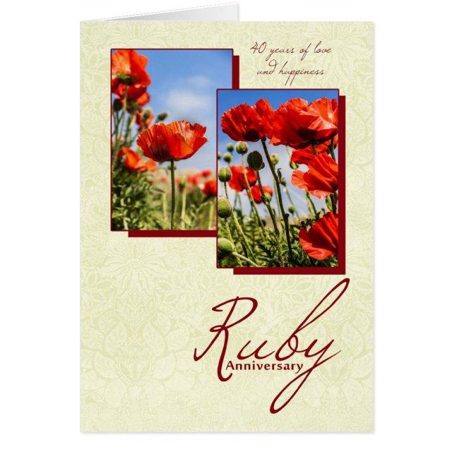 40th Ruby Wedding Anniversary Card