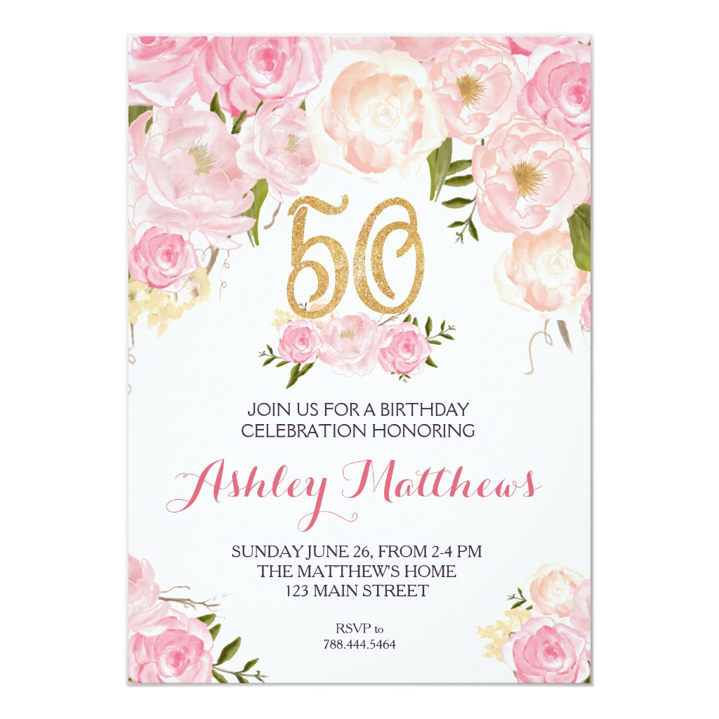 50th birthday Floral Invitation,