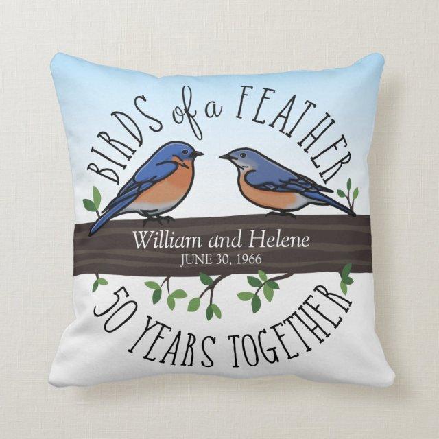 50th Wedding Anniversary, Bluebirds of a Feather Cushion
