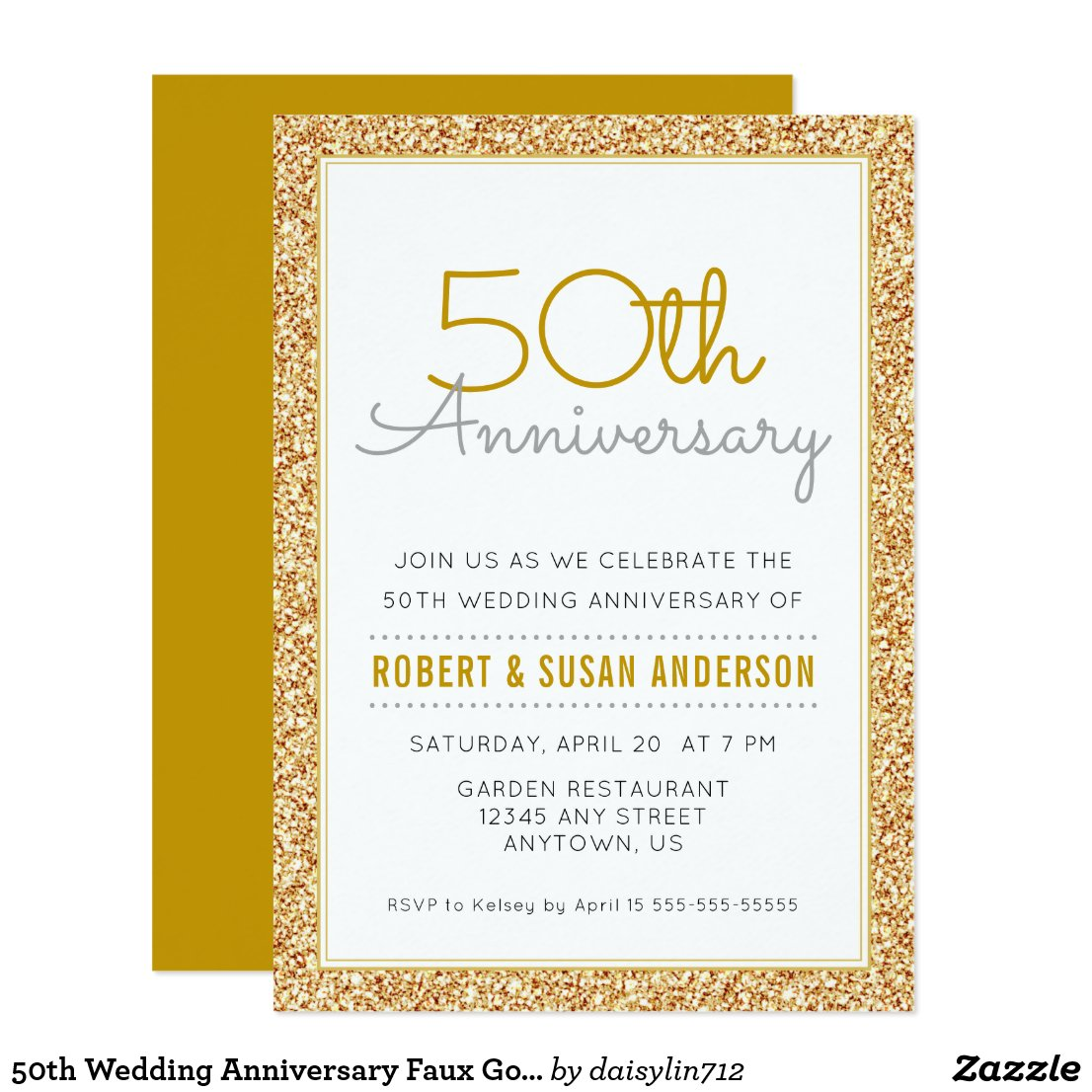 50th Wedding Anniversary Faux Gold Glitter Card