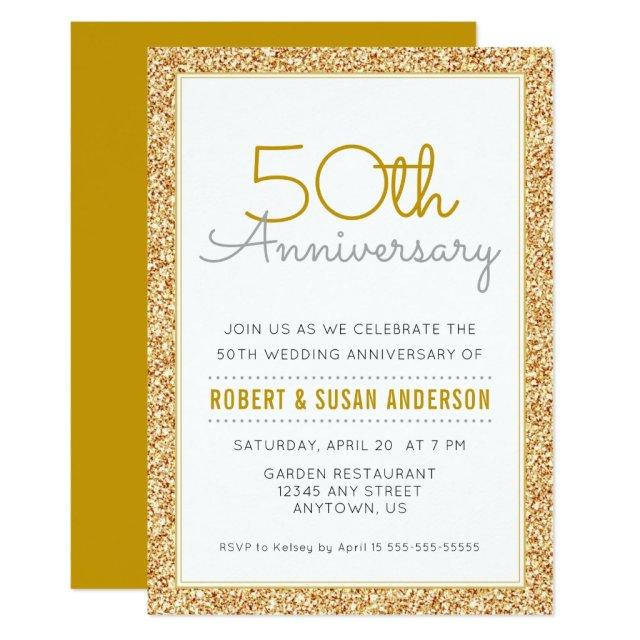 50th Wedding Anniversary Faux Gold Glitter Card