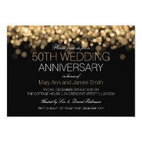 50th Wedding Anniversary Gold Lights 5x7 Paper Invitation Card