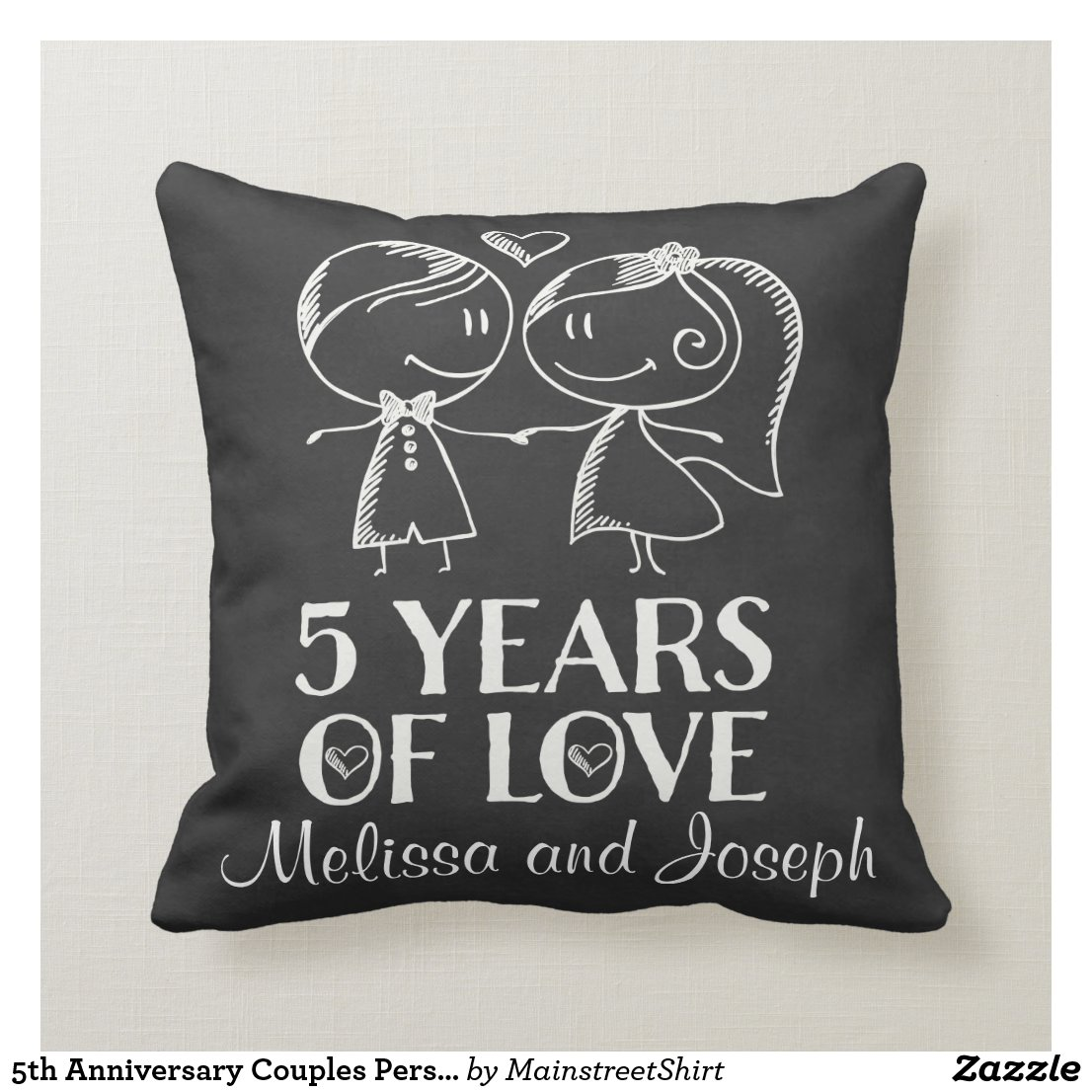 5th Anniversary Couples Personalised Pillow