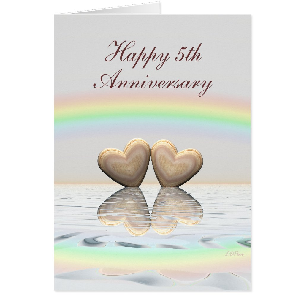 5th Anniversary Wooden Hearts Card