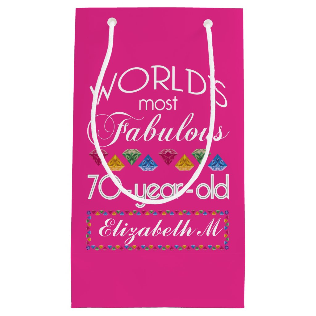 70th Birthday Most Fabulous Colourful Gems Pink Gift Bag