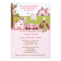 Abby's Farm Animal Girls Baby Shower GIRL PINK Card