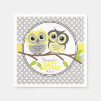 Adorable Owls Baby Shower Standard Cocktail Napkin