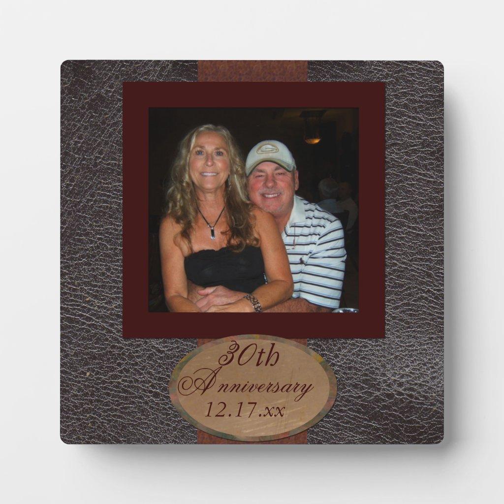 Anniversary photo leather look Plaque