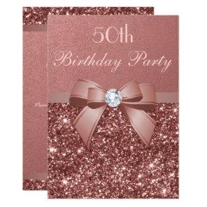 Any Age Birthday Rose Gold Glitter Diamond Bow Card