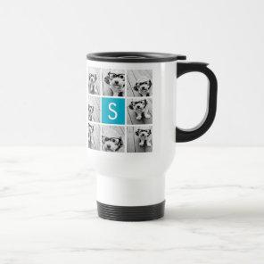 Aqua Blue Photo Collage Custom Monogram Travel Mug
