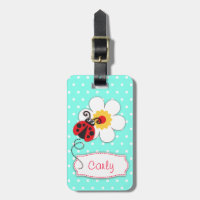 Aqua red ladybug & polka dots named luggage tag