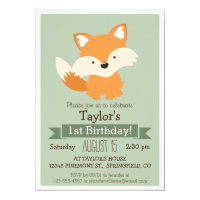Baby Fox, Woodland Animal Kid's Birthday Party Card