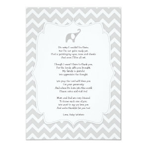 Baby shower poem thank you notes, grey elephant invitation