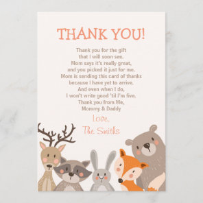 Baby Shower Thank You Card Woodland