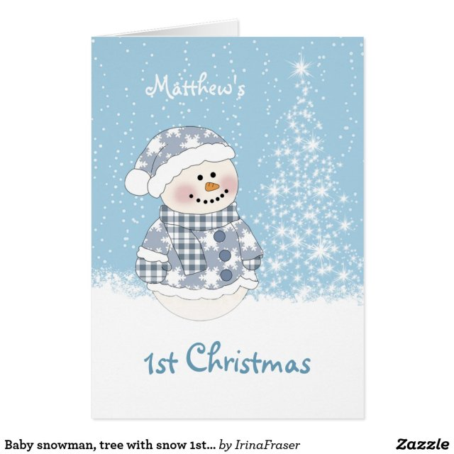Baby snowman, tree with snow 1st Christmas