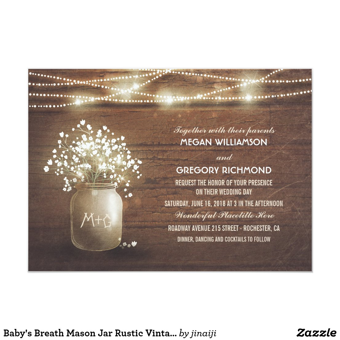 Baby's Breath Mason Jar Rustic Vintage Wedding Card