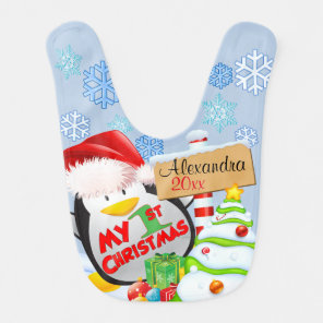 Baby's First Christmas Penguin Bib