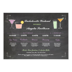 Bachelorette Bridal Shower Chalk Coral Itinerary Invitation