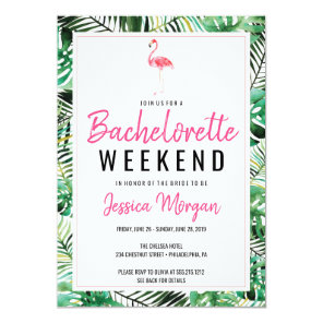 Bachelorette Weekend Itinerary Tropical Flamingo Invitation