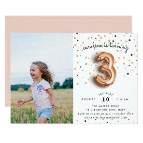 Balloon Type   Photo Third Birthday Party Invite