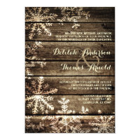 Barn Wood Snowflakes Rustic Winter Wedding 5x7 Paper Invitation Card