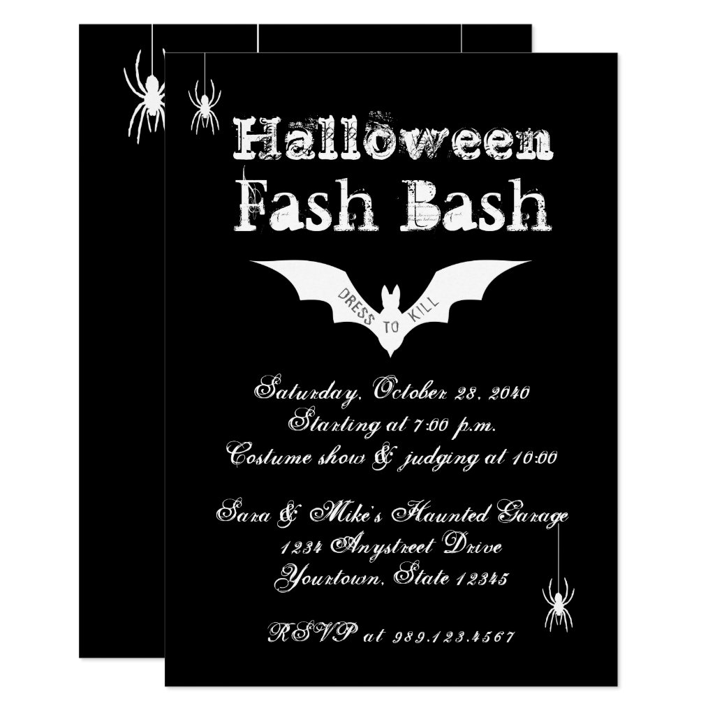Bat Chic Crazy with Spiders Halloween Party Invitation