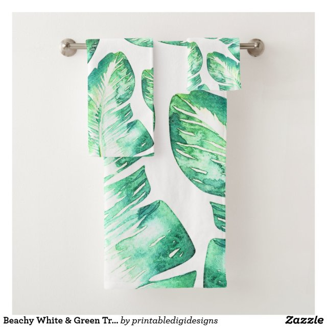 Beachy White & Green Tropical Palm Leaves Chic Bath Towel Set