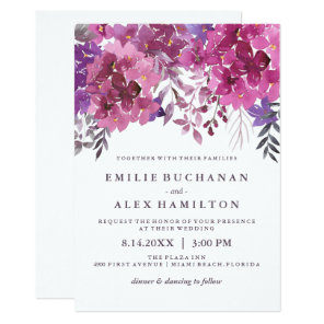 Beautiful Watercolour Hydrangeas and Botanicals Invitation