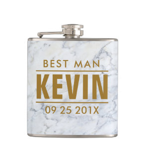 Best Man White Faux Marble Hip Flask