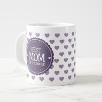 Best Mom in the World Violet Hearts and Circle Large Coffee Mug