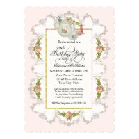 Birthday Fairy Tea Party, Roses Teapot n Cups Card