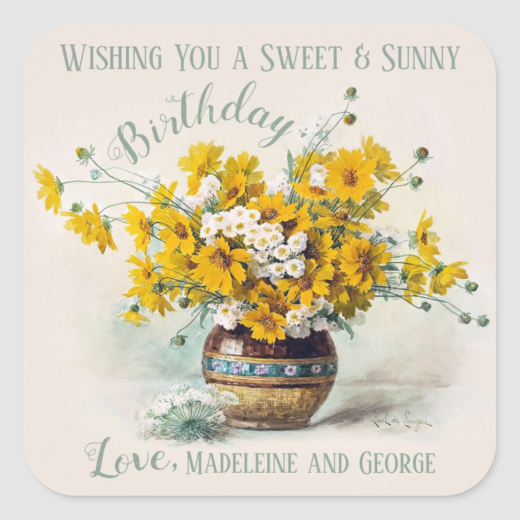 Birthday Sweet & Sunny De Longpré flowers CC1015 Square Sticker