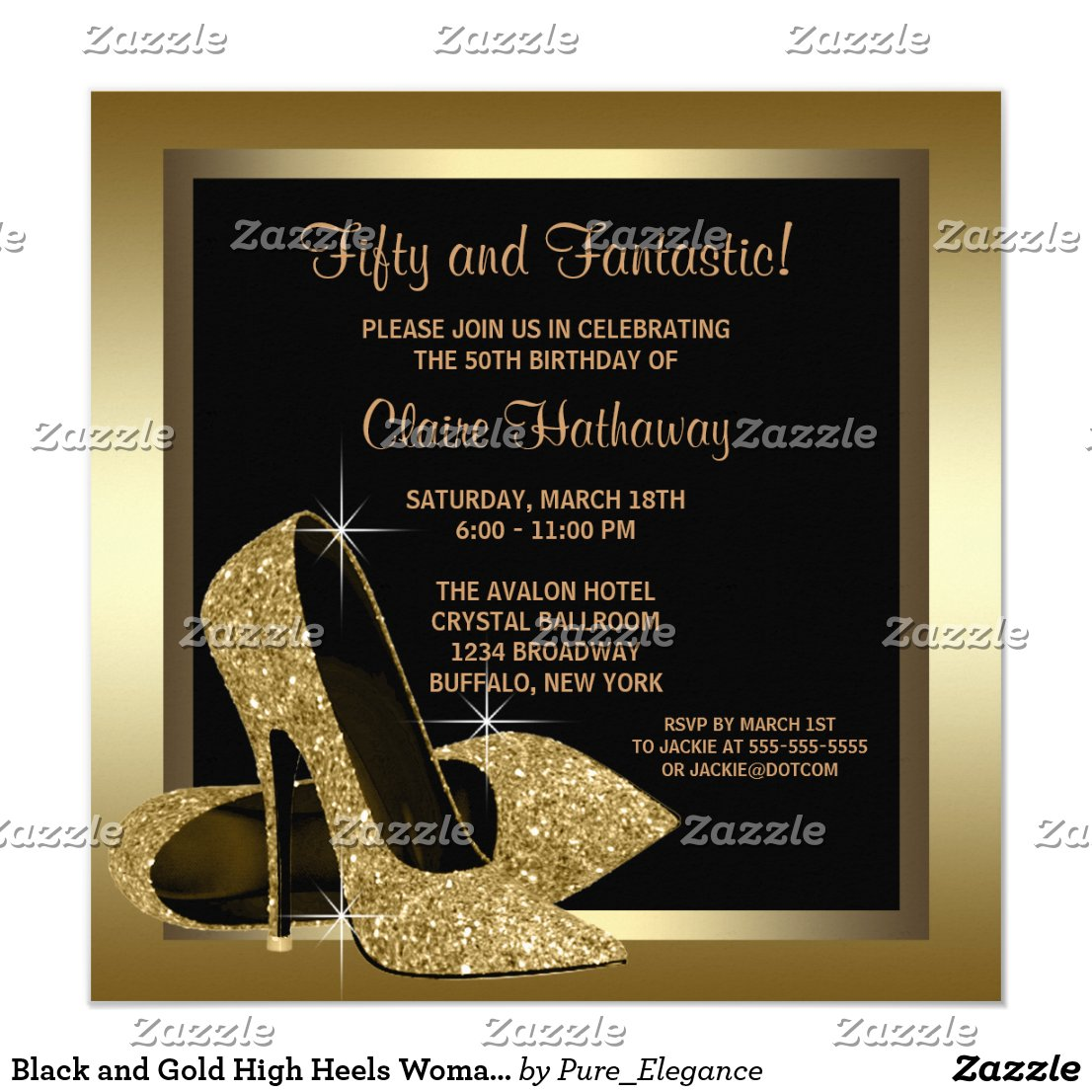 Black and Gold High Heels Womans 50th Birthday Card