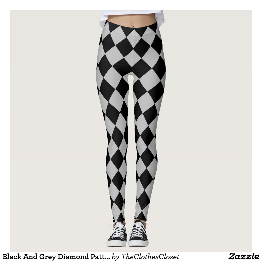 Black And Grey Diamond Pattern Leggings