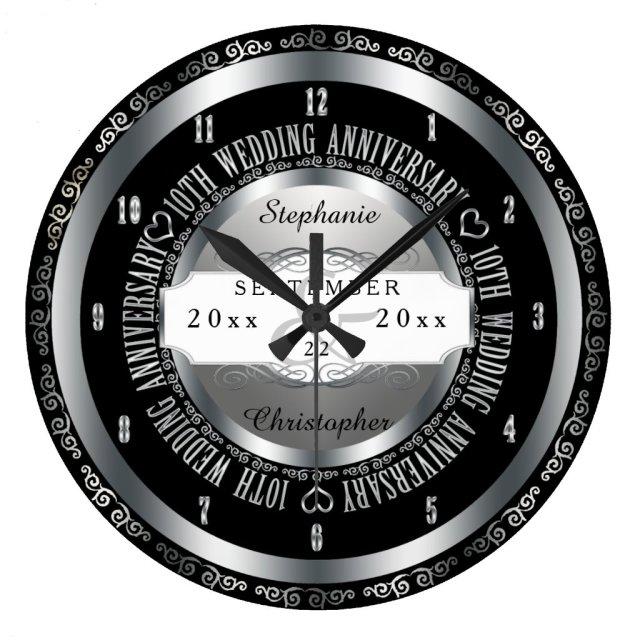 Elegant 10th Wedding Anniversary Clock