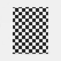 Black And White Checkered Checkerboard Pattern Fleece Blanket