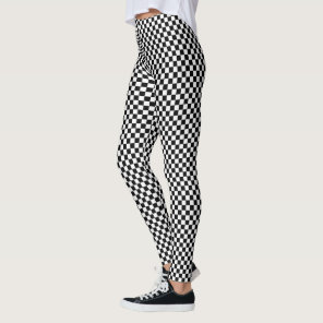 Black and White Chequered Pattern Leggings
