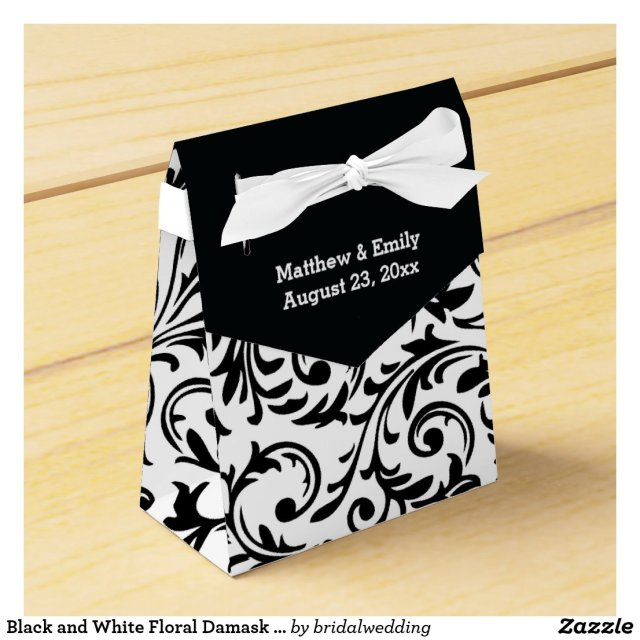 Black and White Floral Damask Wedding Favour Boxes