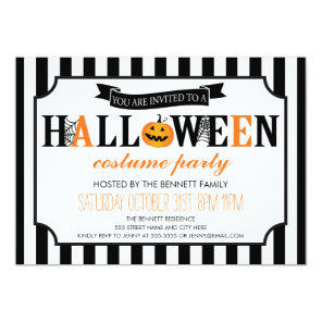 Black and White Halloween Party Invitation