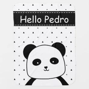 Black and White Panda Monochrome baby boy's Baby Blanket