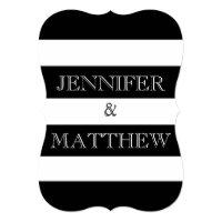 black and white stripe wedding invitation