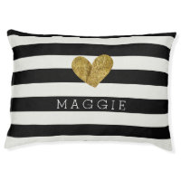 Black and White Stripes Gold Heart Dog Bed